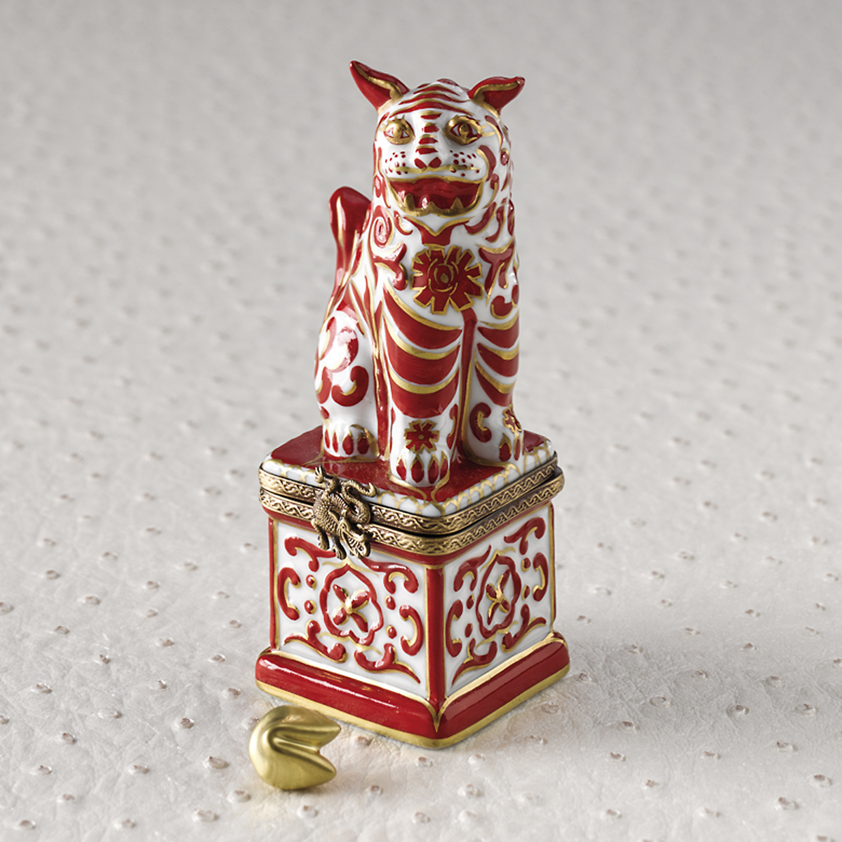 Limoges Red & White Foo Dog
