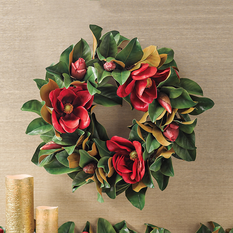 Holiday Red Magnolia Wreath