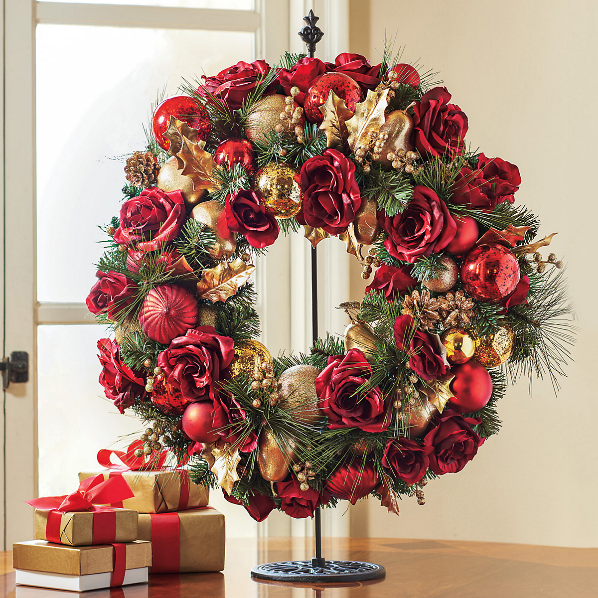Red Rose & Gold Wreath