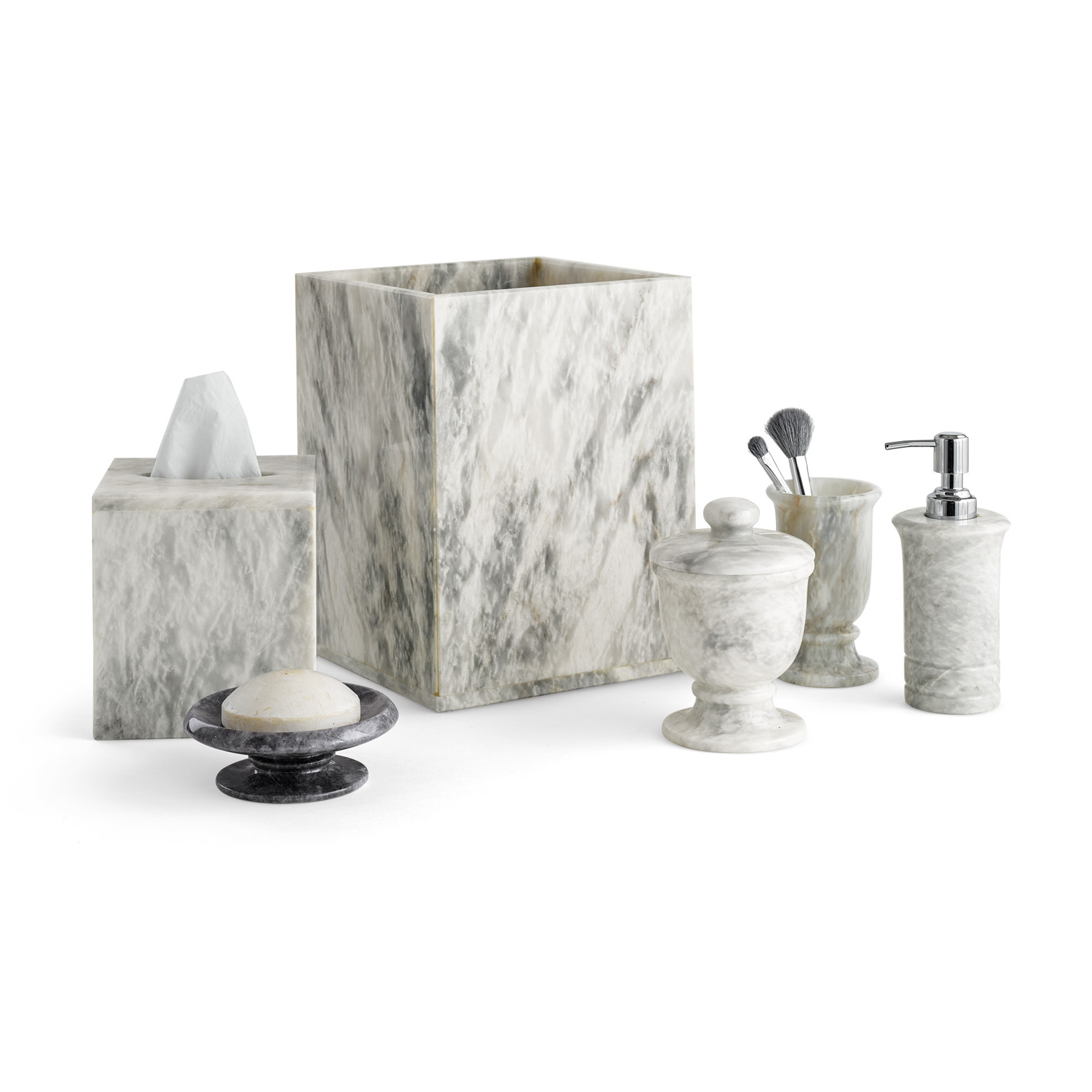 Dove Gray Marble Bath Accents