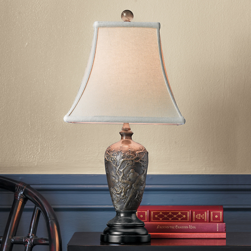 Bird & Flower Bronze Lamp