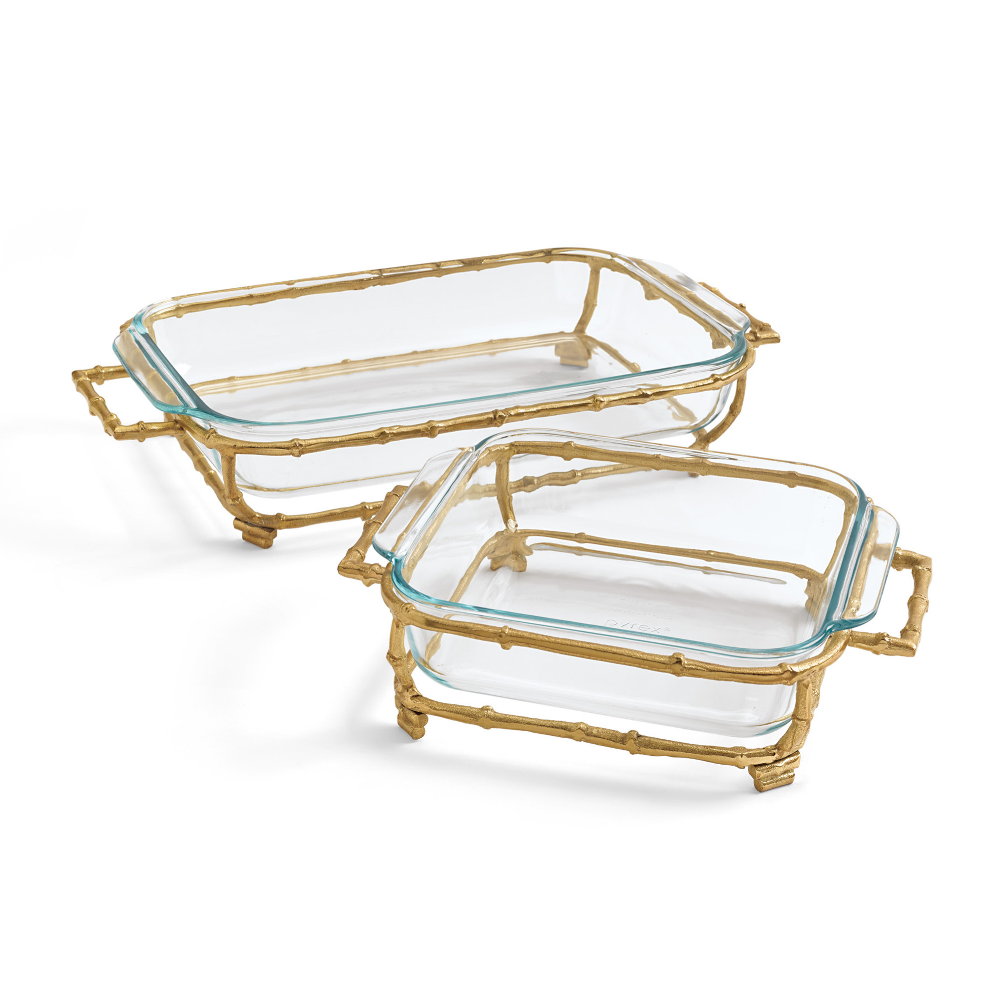 Gold Bamboo Pyrex Servers