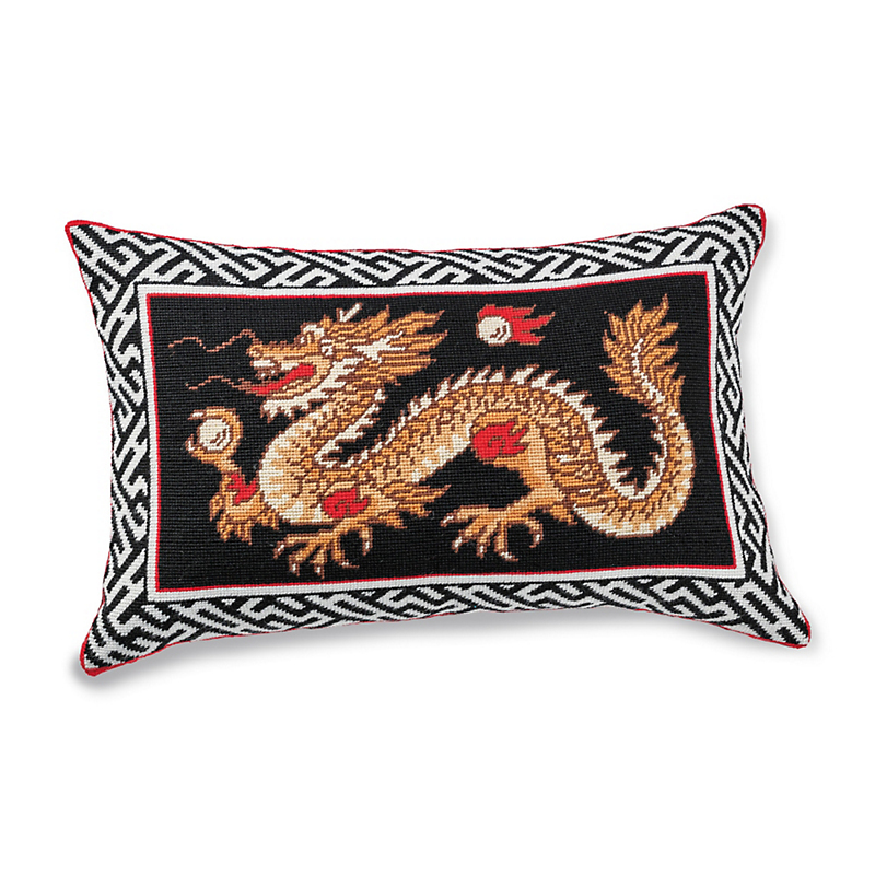Imperial Dragon Needlepoint Pillow
