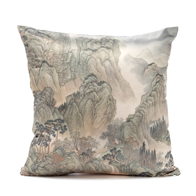 Imperial Landscape Square Pillow, Emperor's Approach