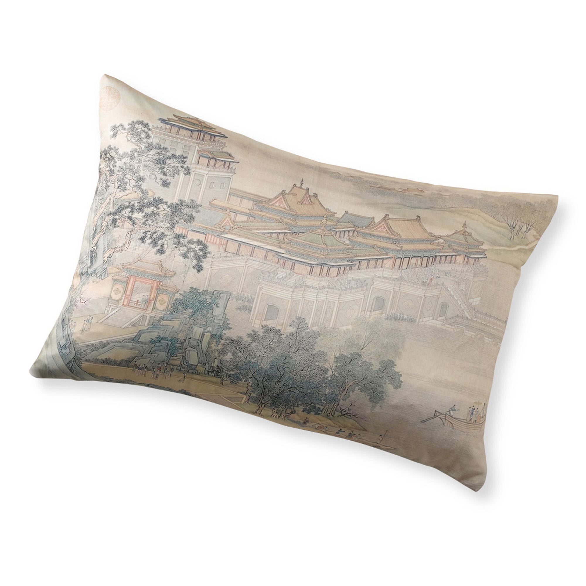 Imperial Landscape Lumbar Pillow, Along The Riverbank
