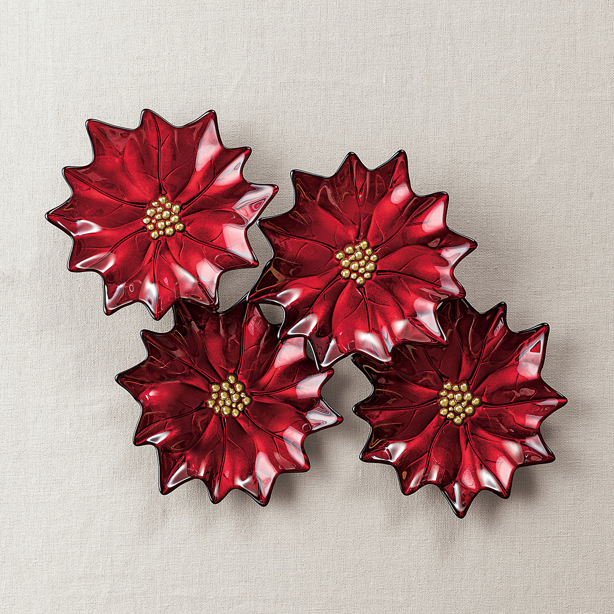 Festive Poinsettia Plates, Set Of 4