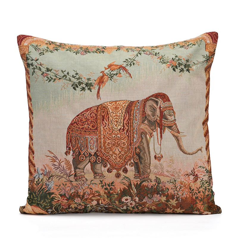 French Tapestry Elephant Pillow