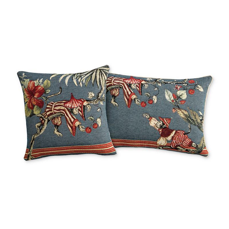 Chinoiserie Monkey Pillows, Blue