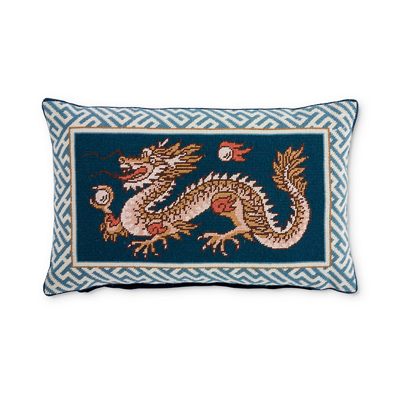 Blue Imperial Dragon Needlepoint Pillow