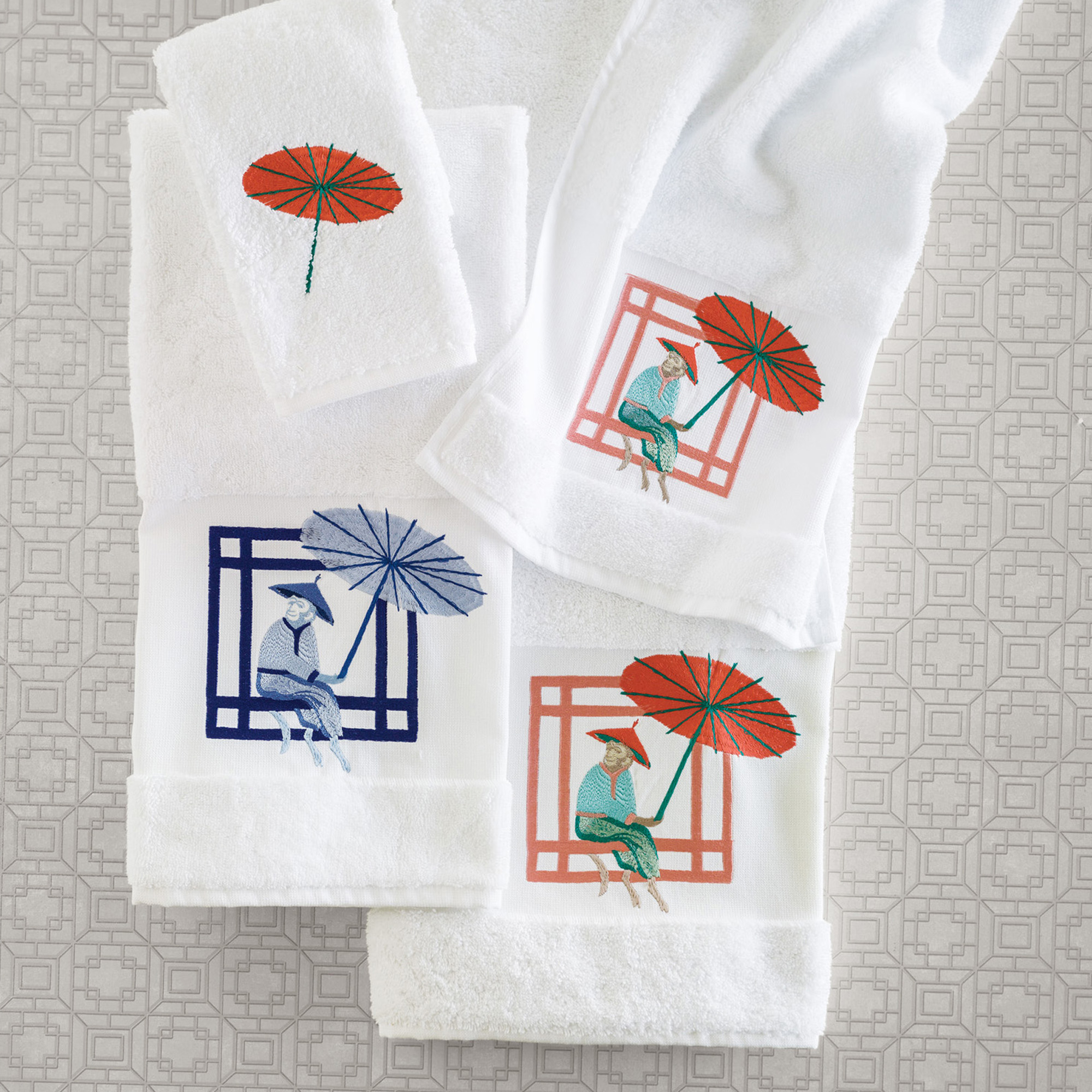 Chinoiserie Monkey Towels