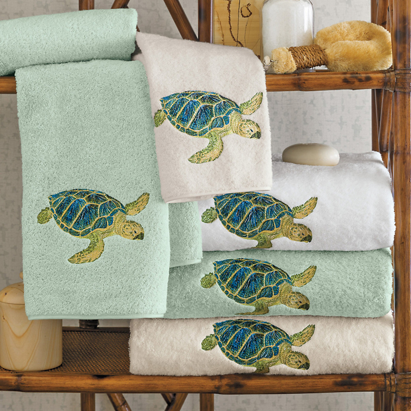 Island sea turtle towels gump 39 s for Sea bathroom accessories