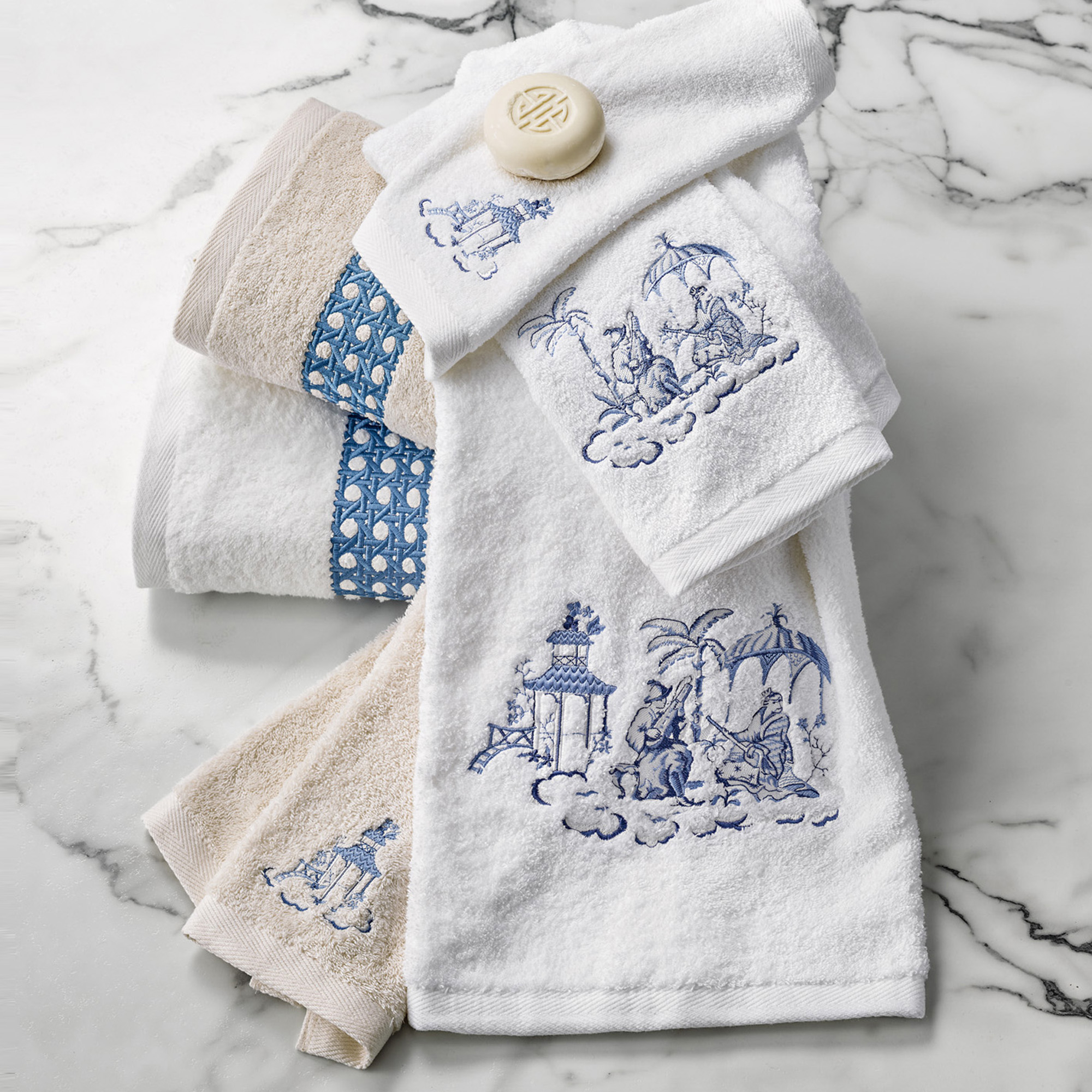 Cane Embroidered Ivory Towels