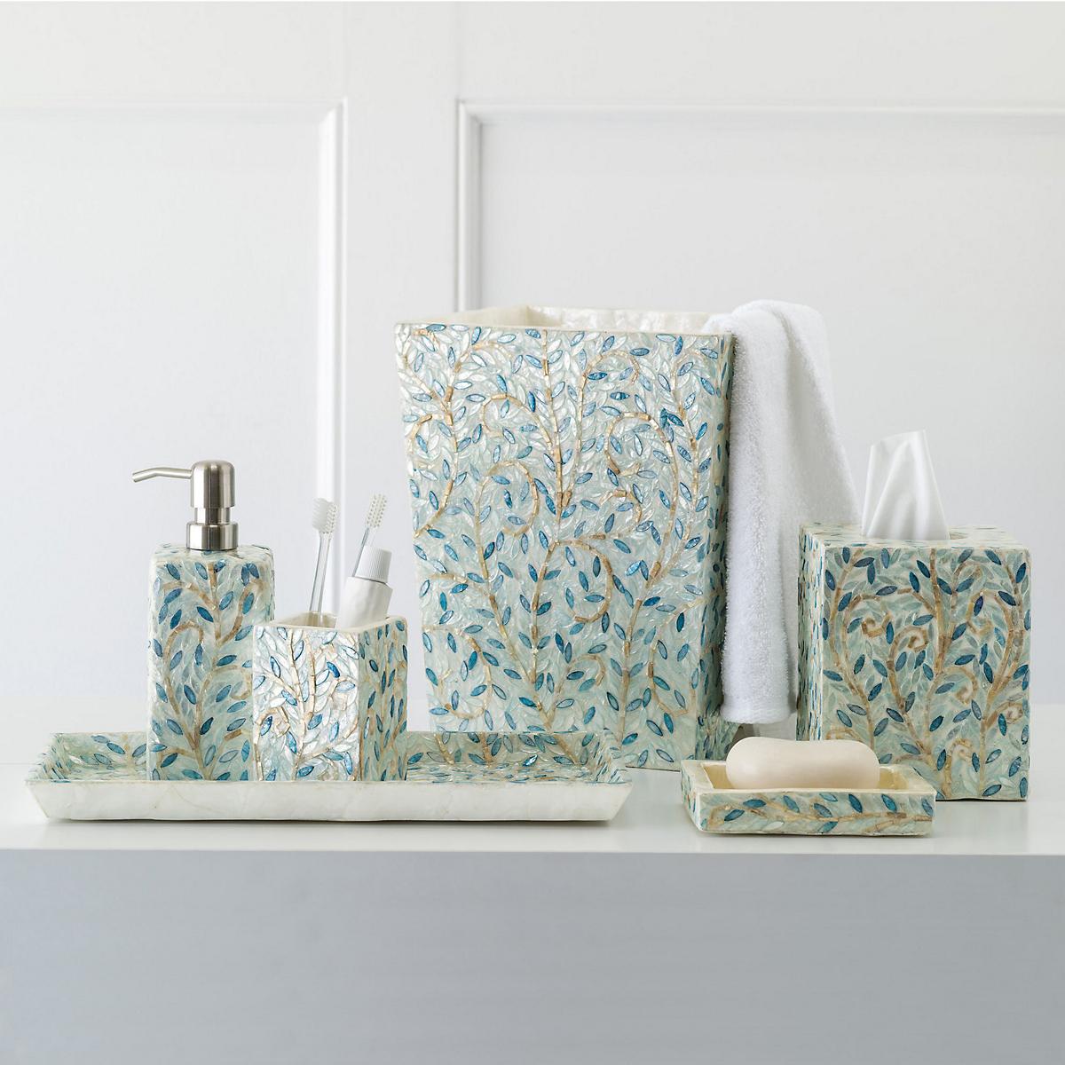 Sorrento capiz shell bath accessories gump 39 s - Capiz shell bathroom accessories ...