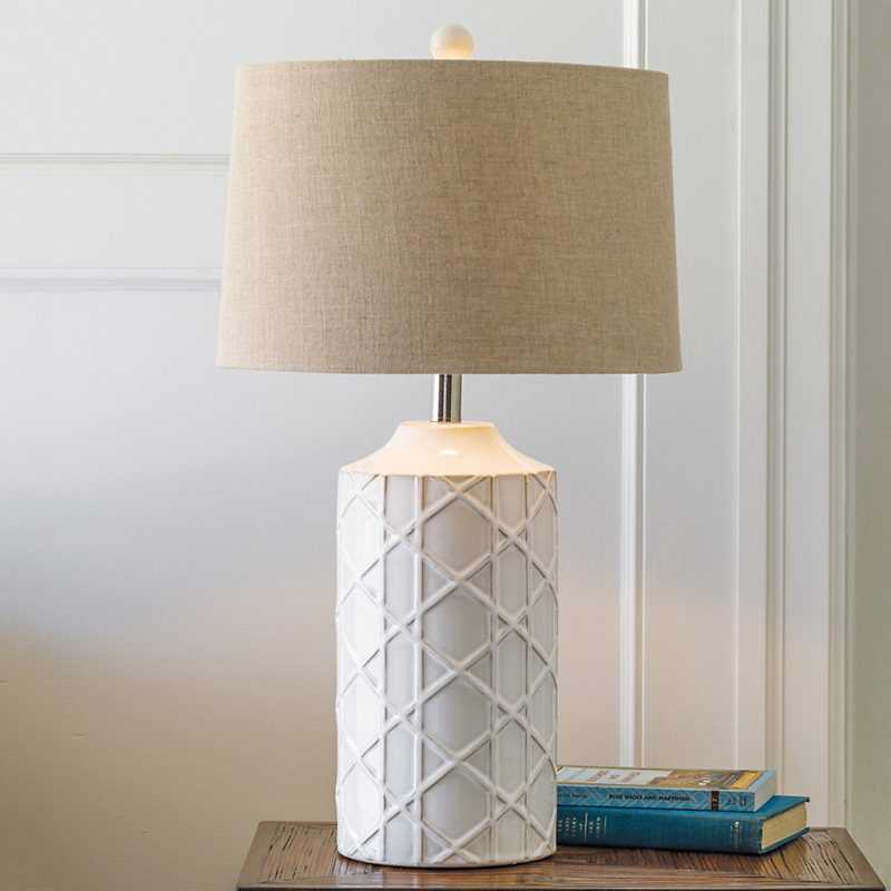 Logan Cane Lamp, White
