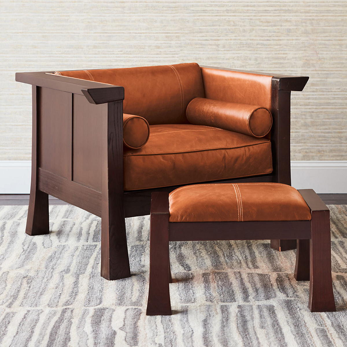 Maria Yee Cambria Chair & Ottoman, Sienna Leather