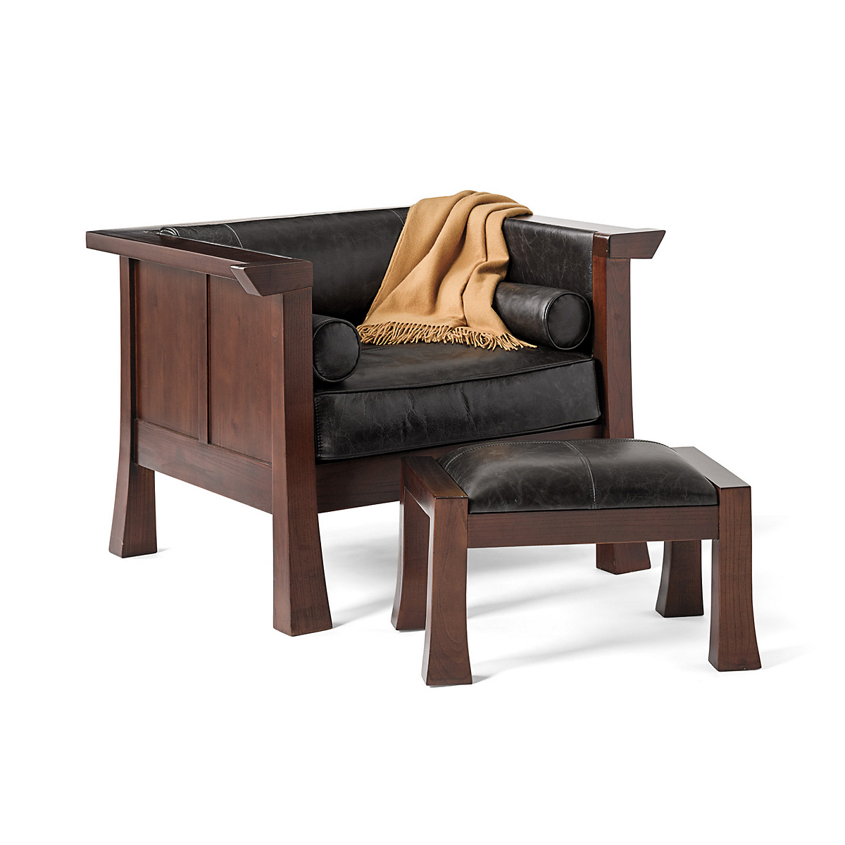 Maria Yee Cambria Chair & Ottoman, Black Leather
