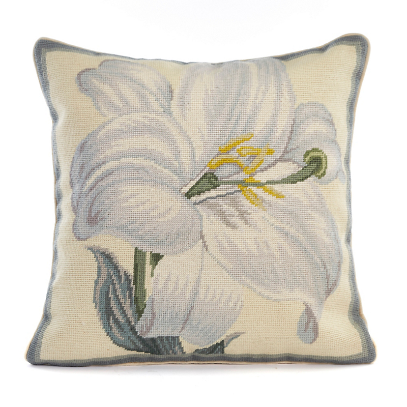 Botanical Needlepoint White Lily Pillow