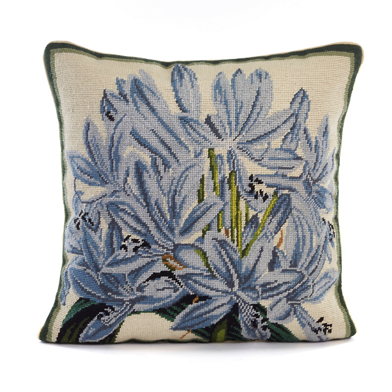 Botanical Needlepoint Agapanthus Pillow