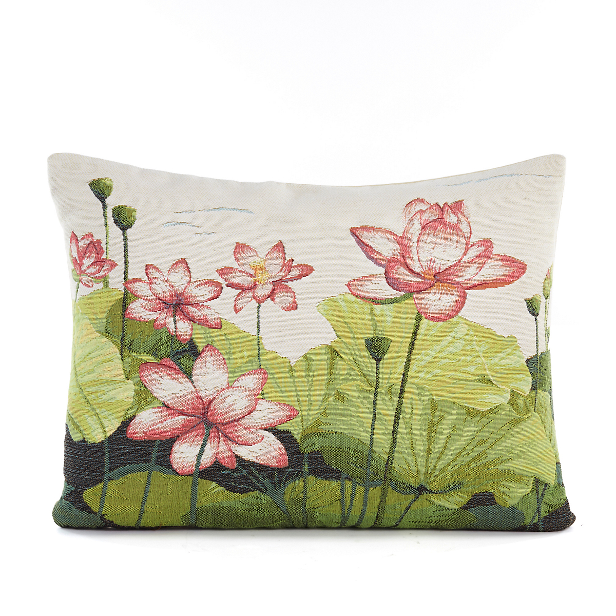 Water Lily Tapestry Lumbar Pillow