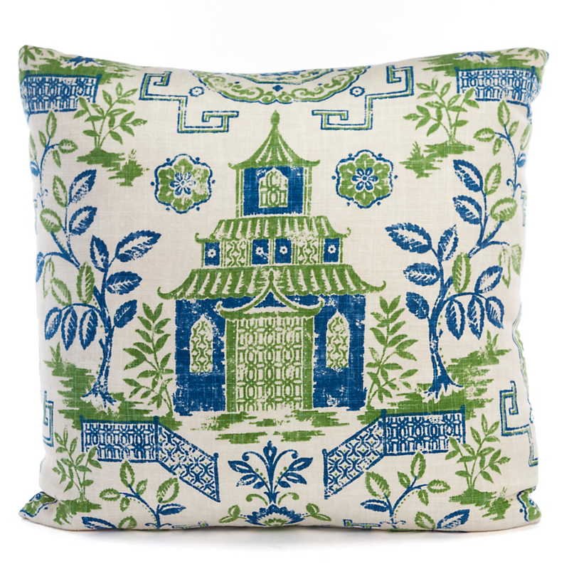 Teahouse Pagoda Pillow, blue/green