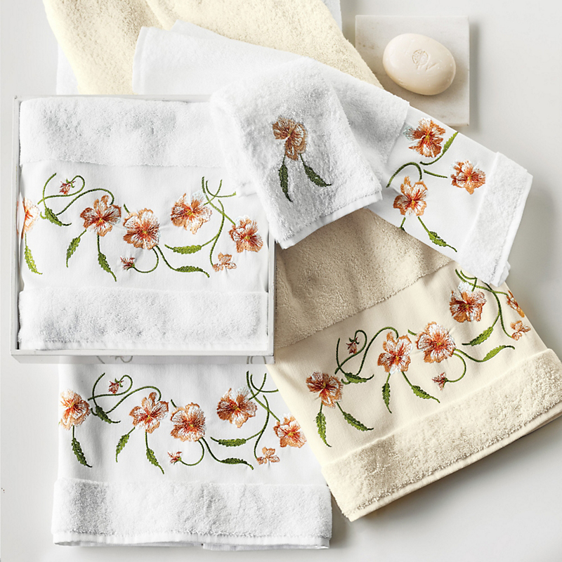 Embroidered Pansy Towels