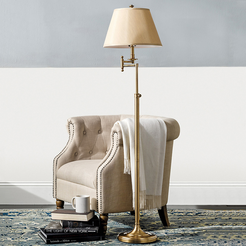 Swing-Arm Brass Floor Lamp