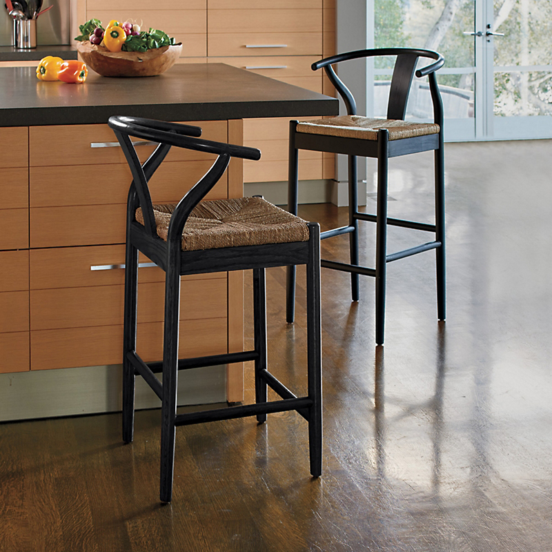 Horseshoe Bar & Counter Stools, Black