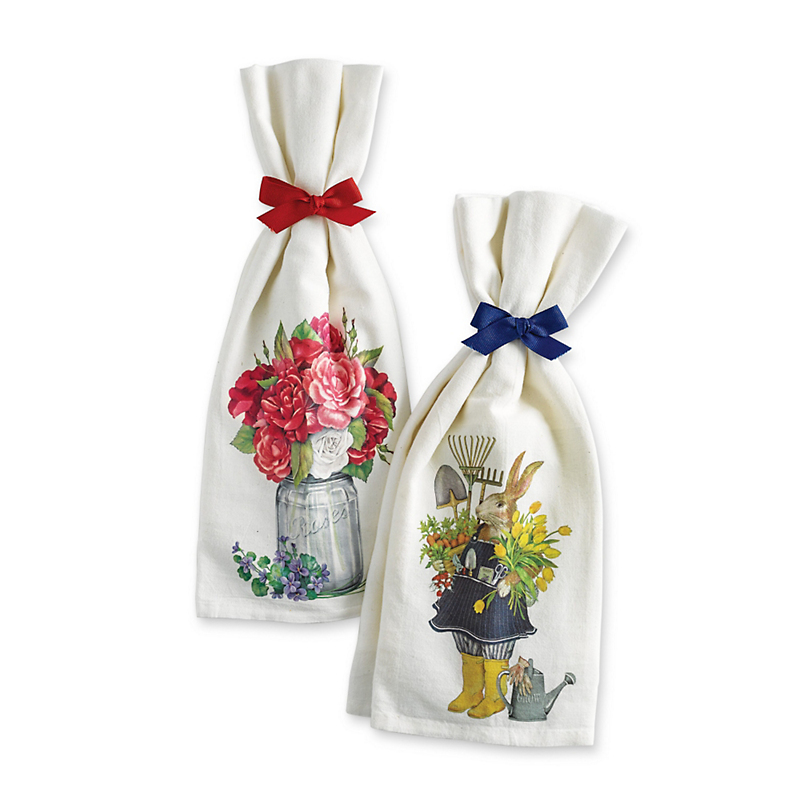 Springtime Flour Sack Towels, Garden Rabbit