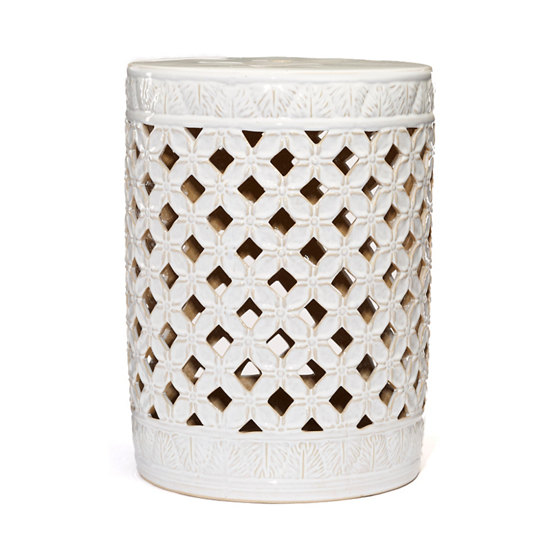 White Lattice Dynasty Garden Stool