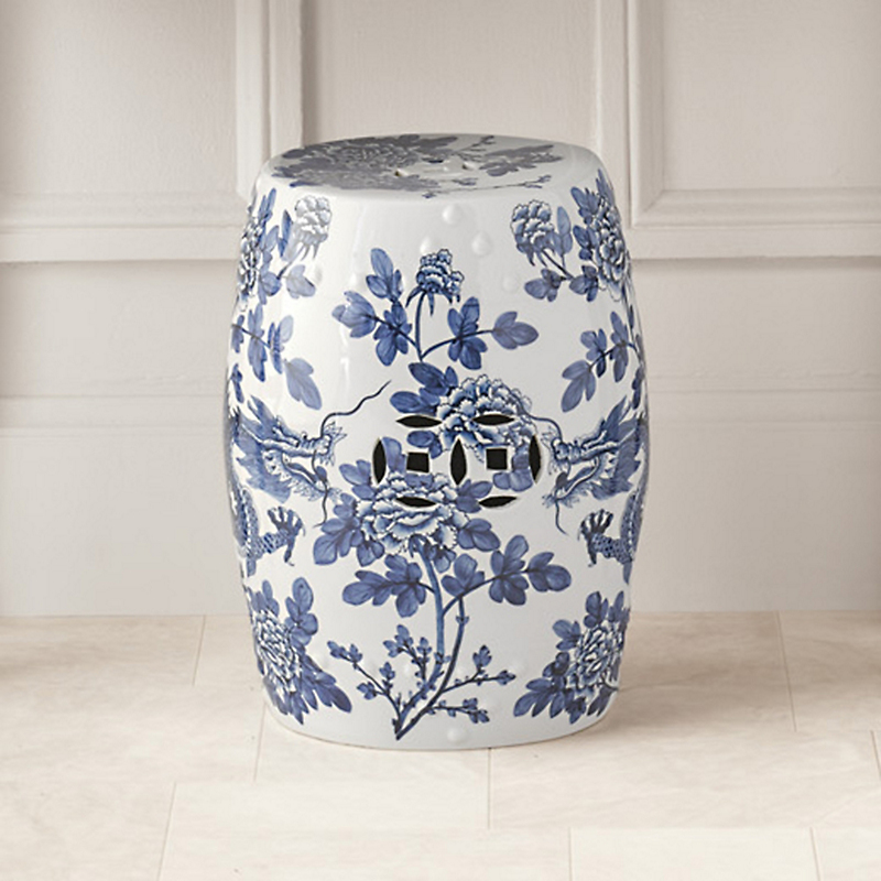 Dragon & Peonies Garden Stool