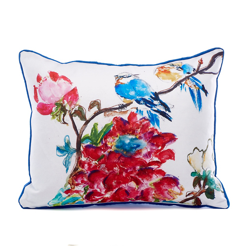 Indoor/Outdoor Bluebird Garden Pillow