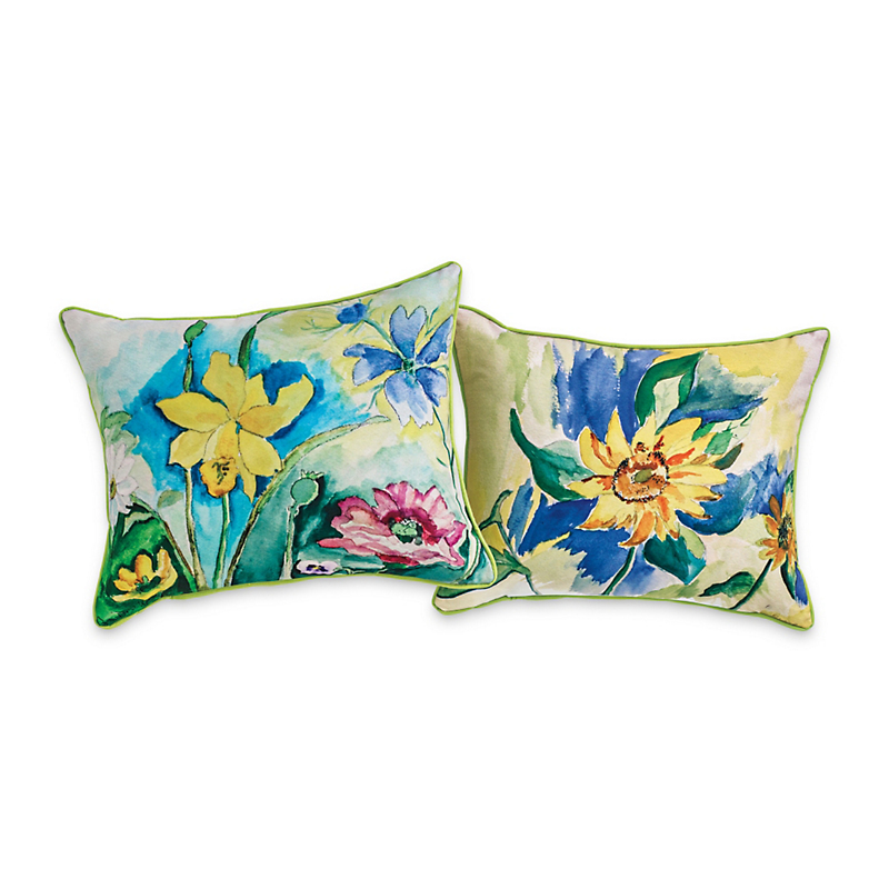 Indoor/Outdoor Floral Watercolor Pillows