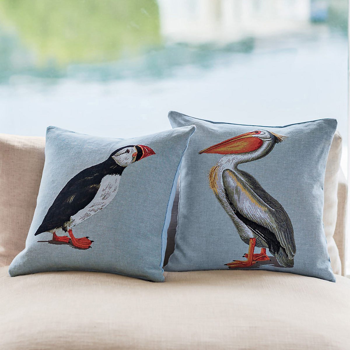 Puffin & Pelican Tapestry Pillows