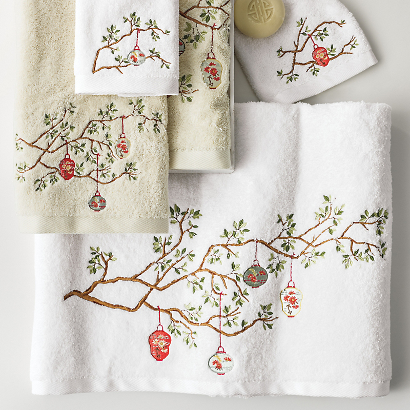 Sento Garden Chinese Lantern Embroidered Towels