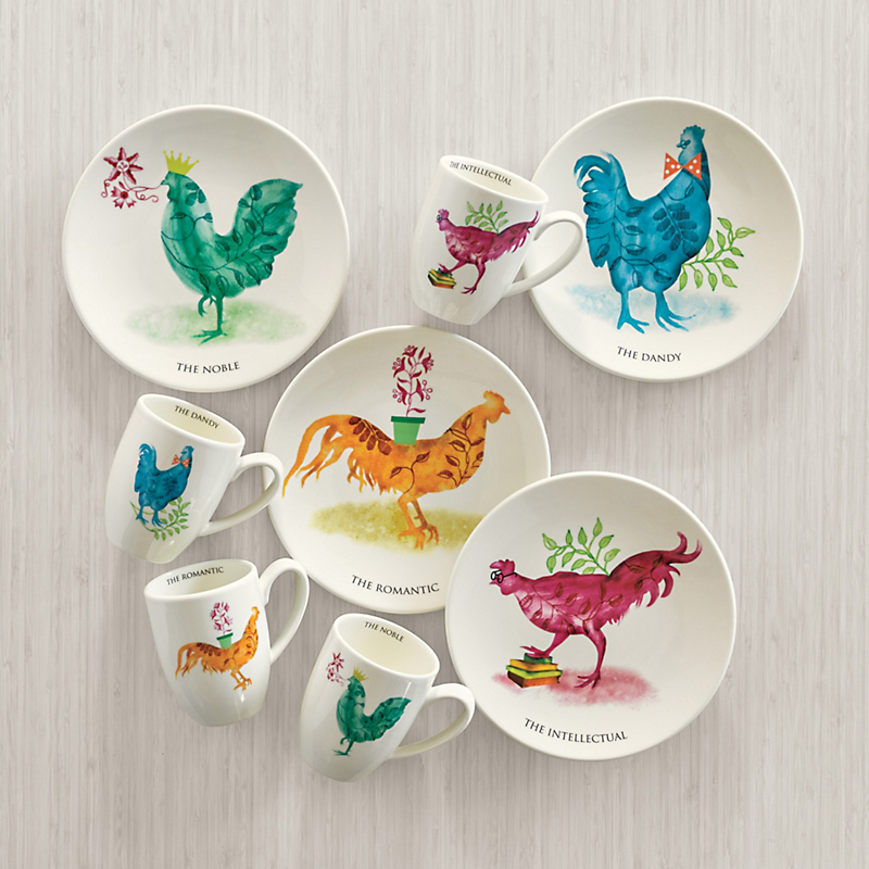Rooster Plates & Mugs