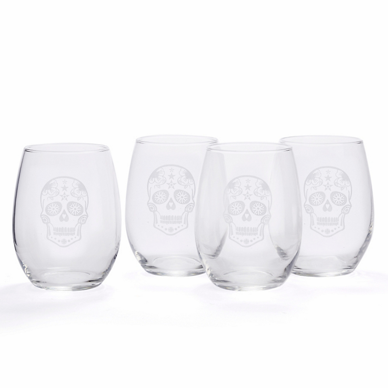 Sugar Skull Stemless Wineglasses