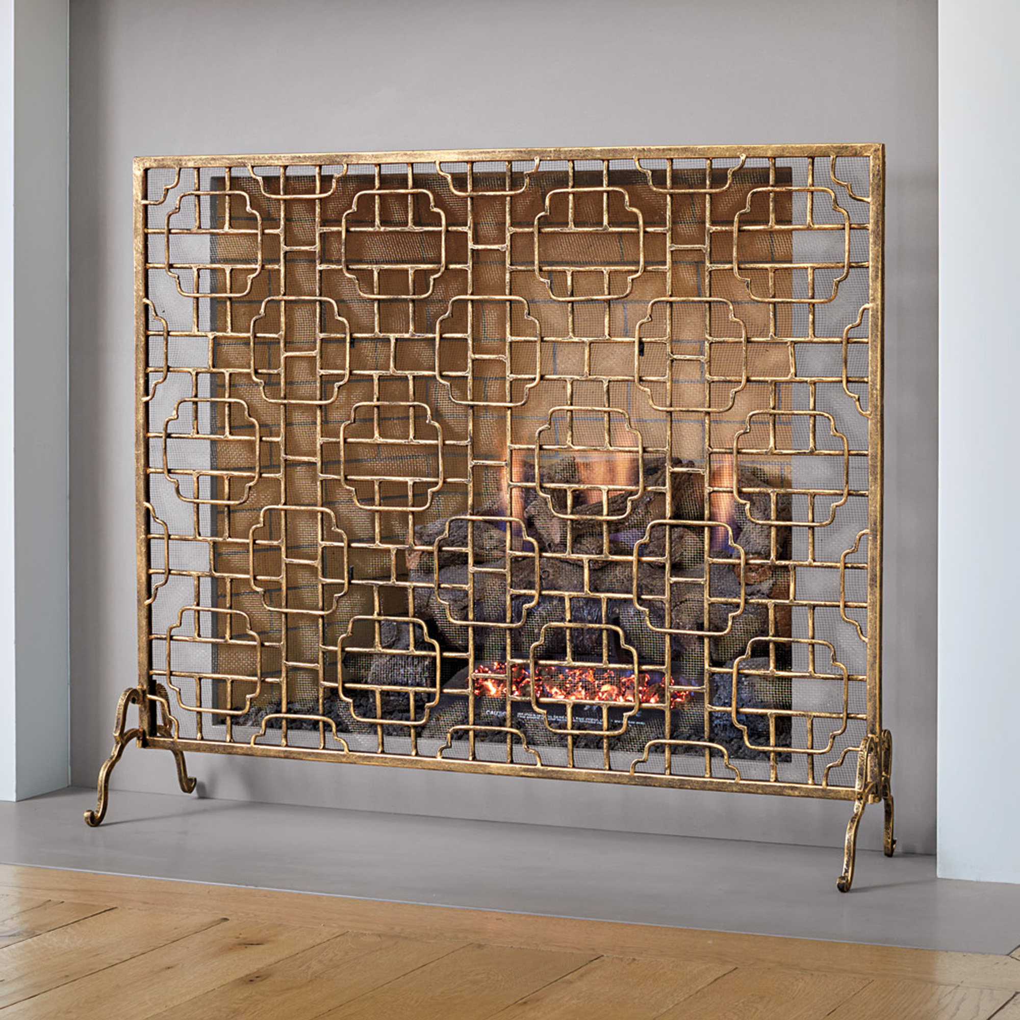 Gold Fretwork Fireplace Screen