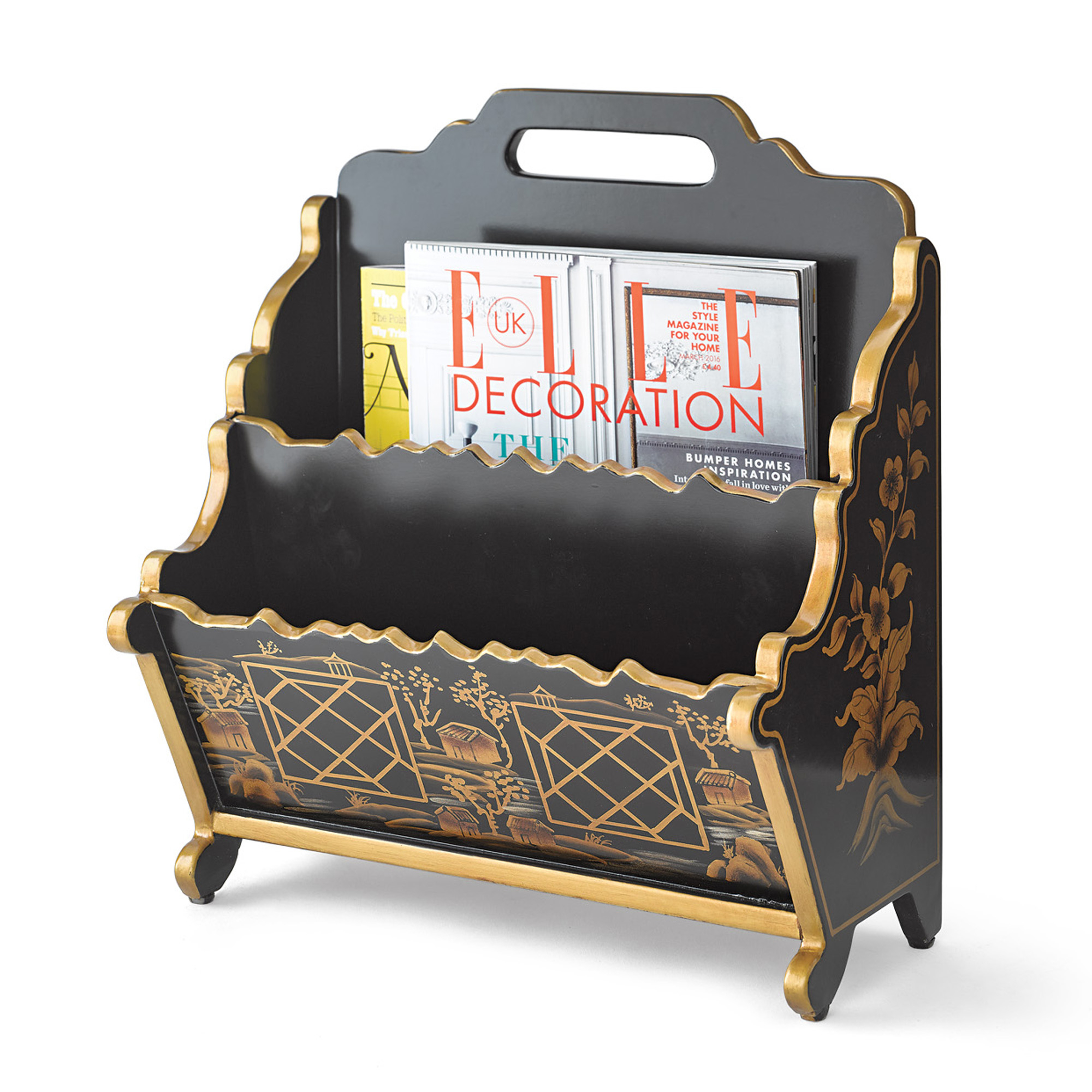Black Chinoiserie Magazine Rack