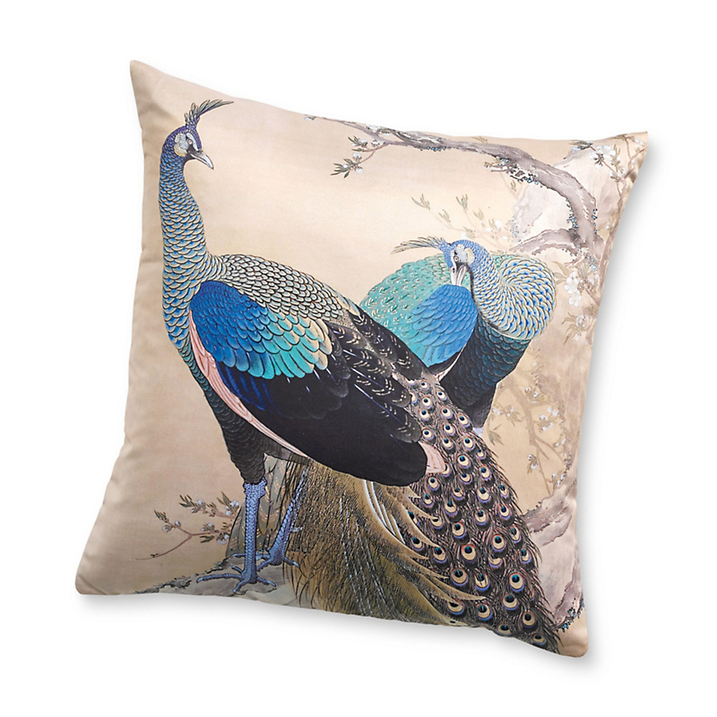 Japanese Peacock Pillow