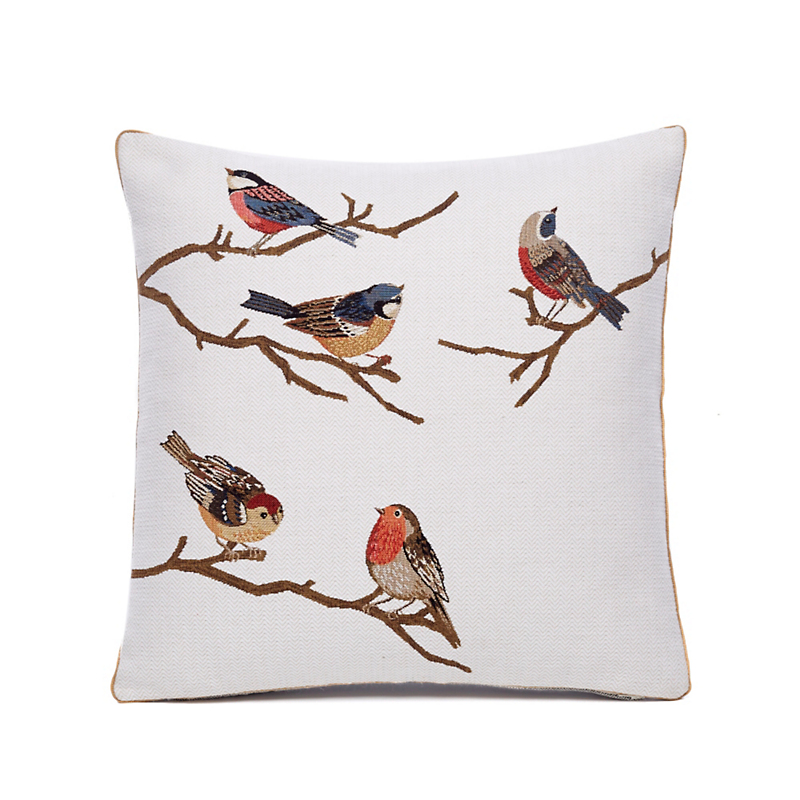 Field & Forest Birds On Branches Pillow