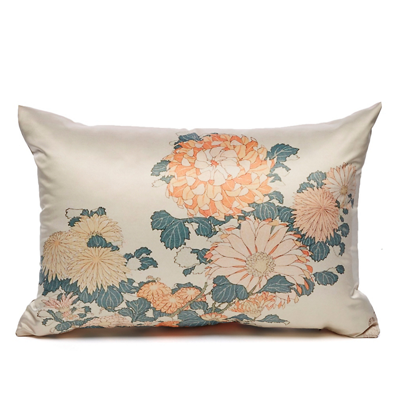 Autumn Garden Hokusai Chrysanthemums Pillow