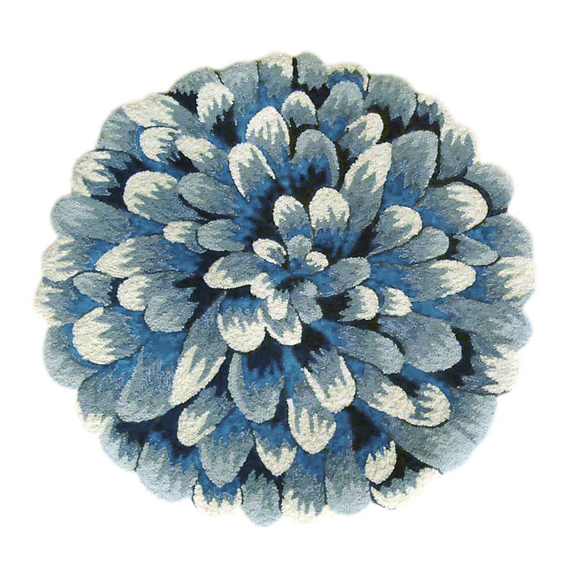 Blue Chrysanthemum Accent Rugs