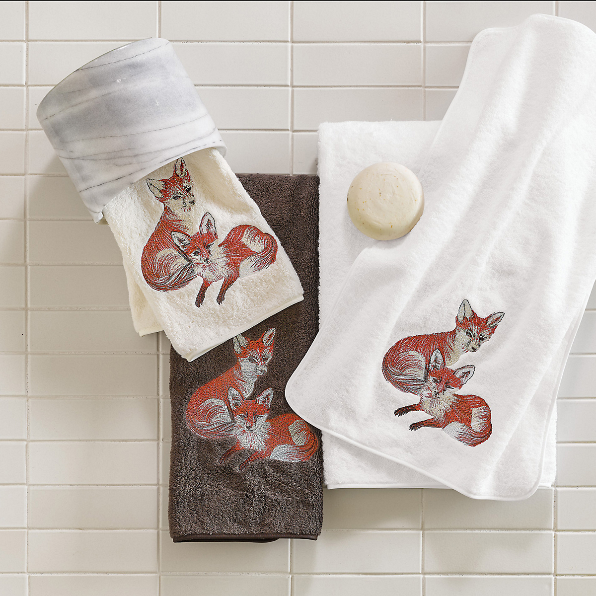 Embroidered Fox Towels