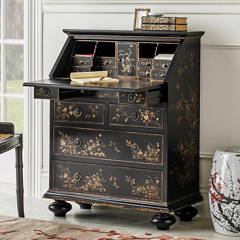 petite chinoiserie secretary desk asian inspired furniture