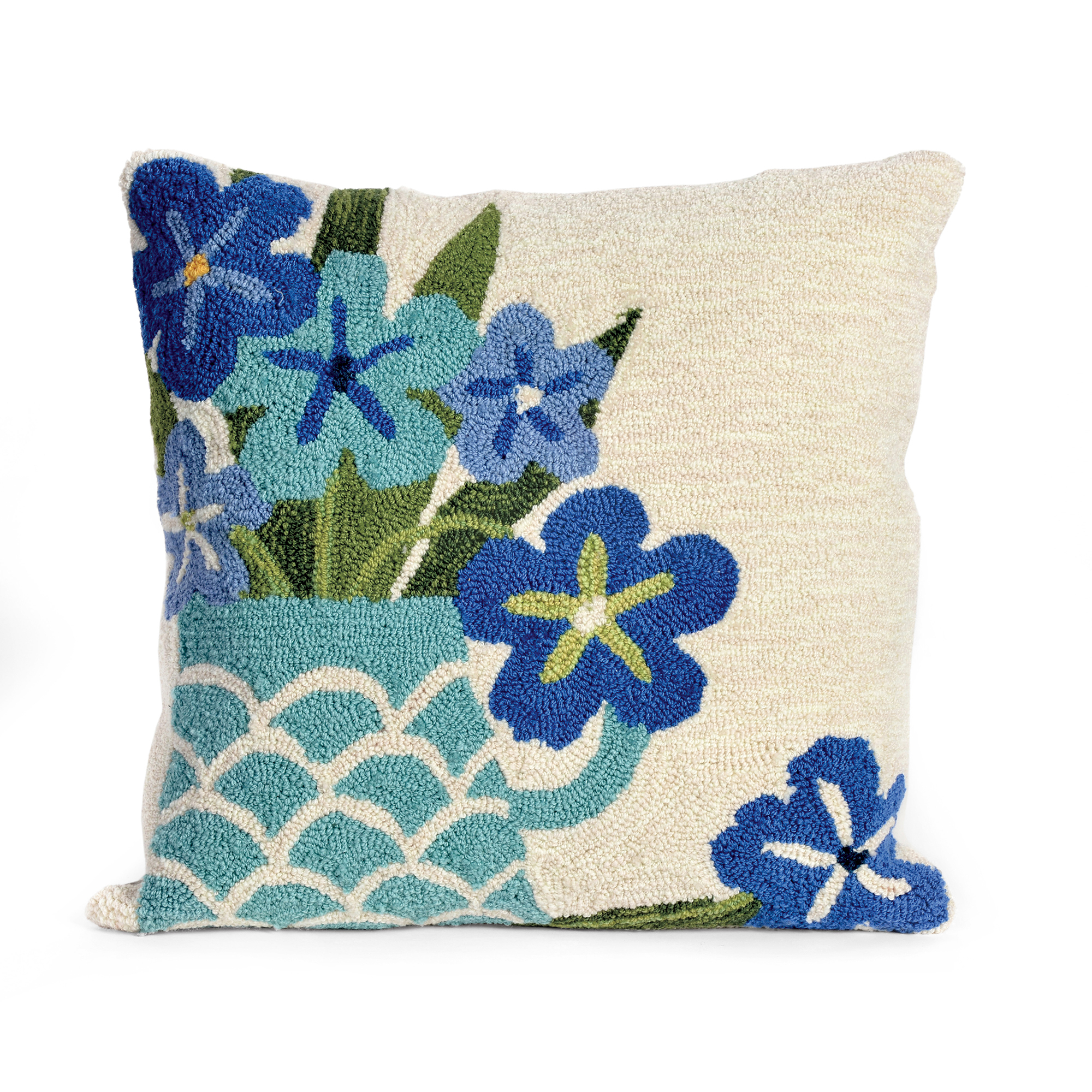 Balboa Indoor/Outdoor Collection Blue Floral Pillow