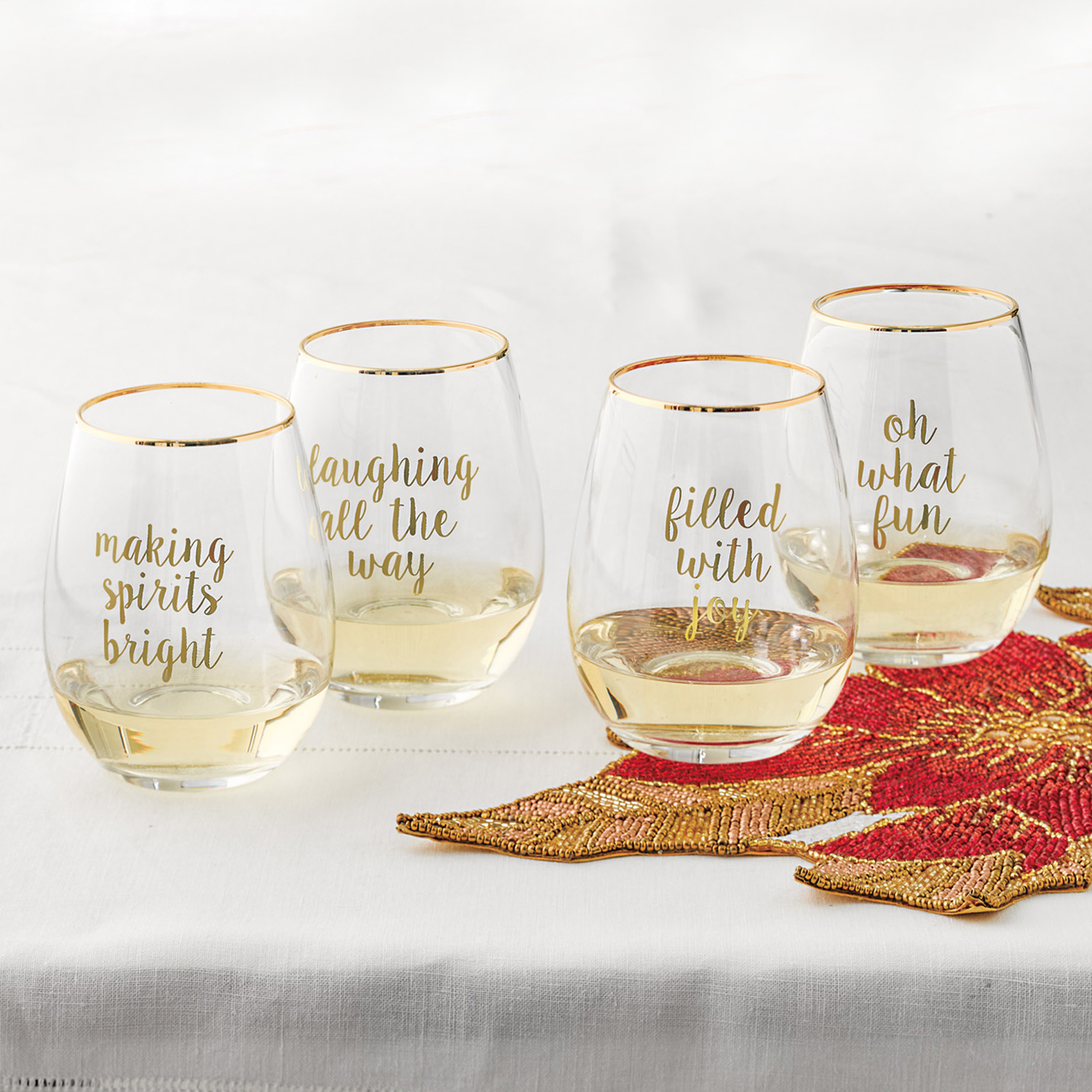 Glad Tidings Stemless Wineglasses