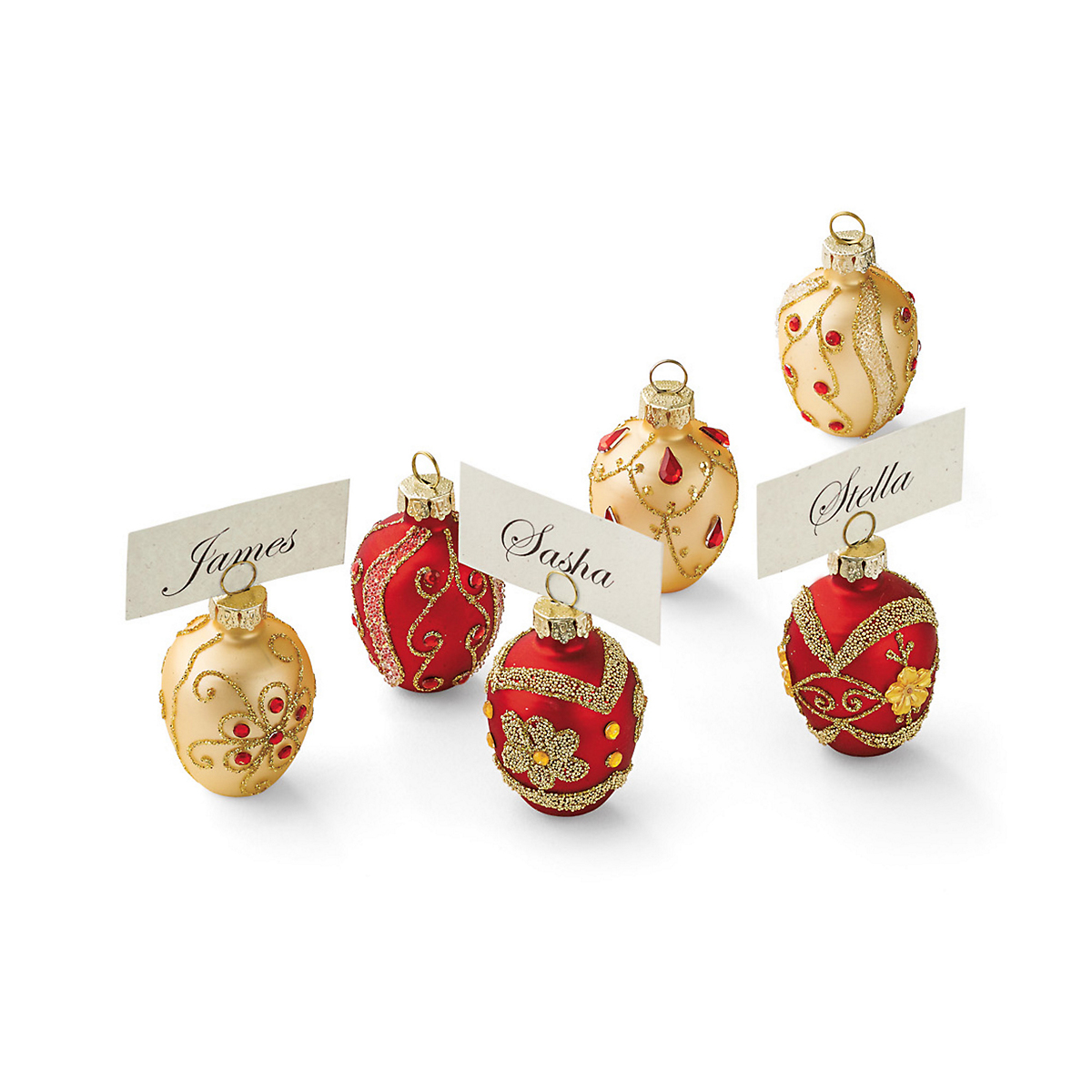 Gold & Red Egg Placecard Holders