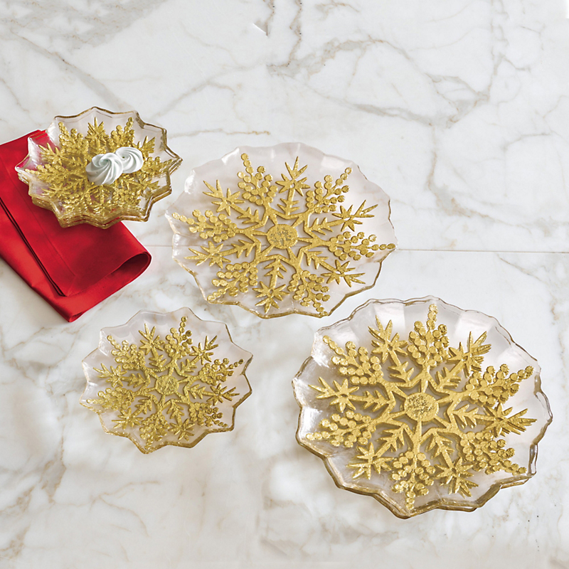 Gold Snowflake Glass Plates