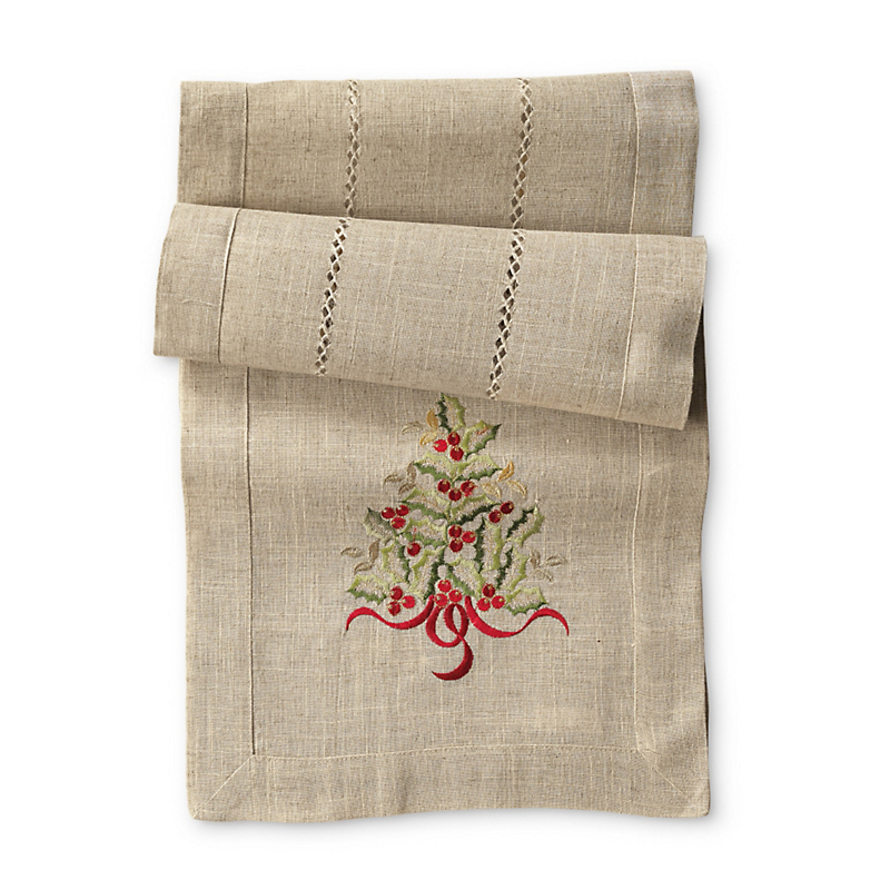 Embroidered Christmas Tree Runner