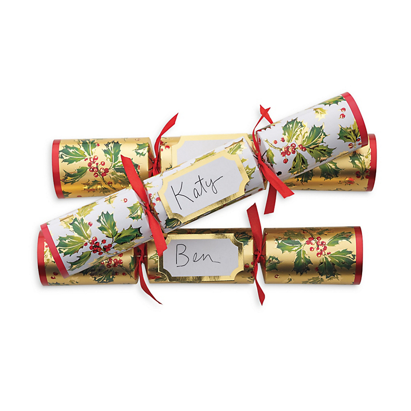 Gilded Holly Crackers, Set Of 6